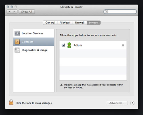 Contacts system preferences